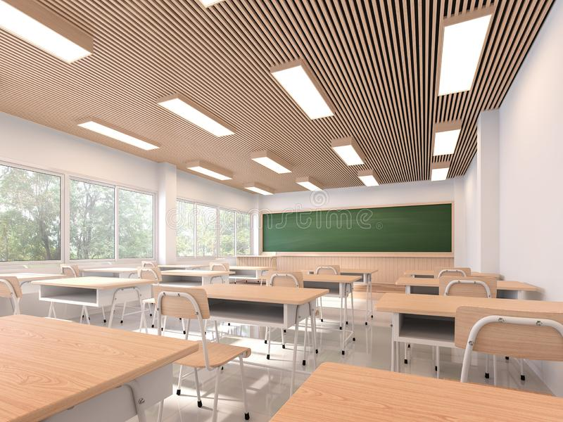 Modern contemporary classroom 3d render. The rooms have white walls and floors, wooden ceilings, decorated with wooden tables and chairs, large windows stock illustration