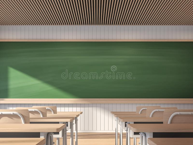 Modern contemporary classroom with empty blackboard 3d render vector illustration