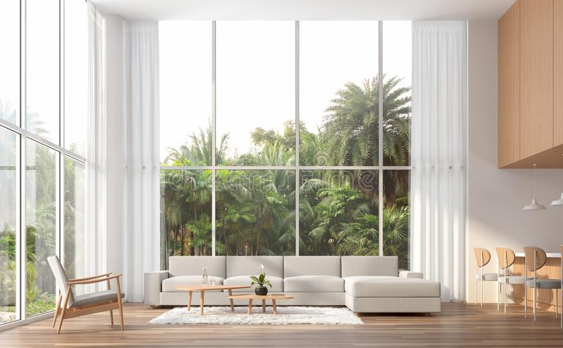 Modern contemporary high ceiling living room 3d render stock illustration
