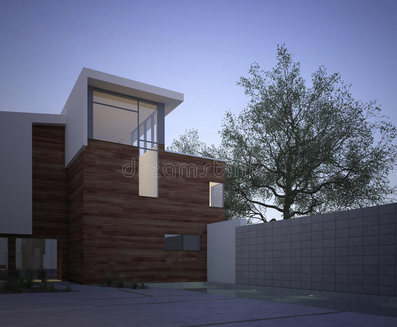 Modern contemporary house exterior at dawn. Modern contemporary house facade with an exterior courtyard and tree in evening light with vignetting vector illustration