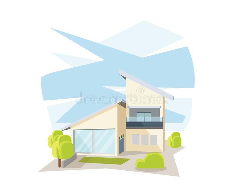 Modern Contemporary House In Perspective View Illustration. Suitable for Diagrams, Infographics, Illustration, And Other Graphic Related Assets stock illustration