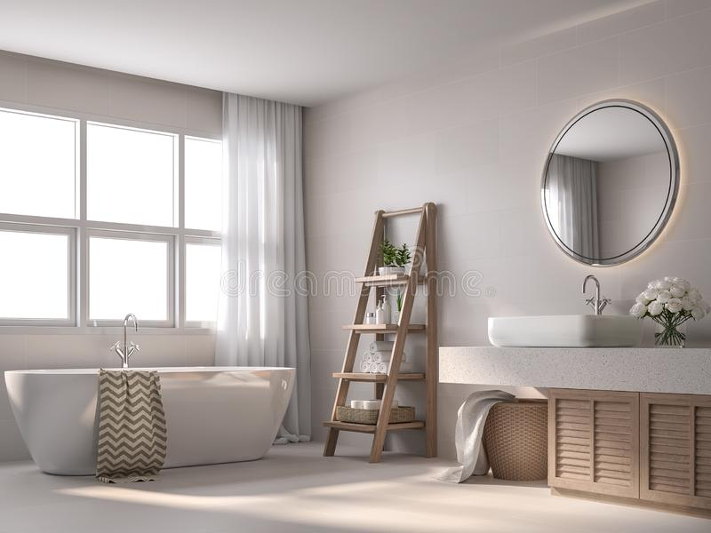 Modern contemporary style bathroom with beige tile 3d render. Modern contemporary style bathroom 3d render, With beige tile walls, black and white pattern floor stock illustration
