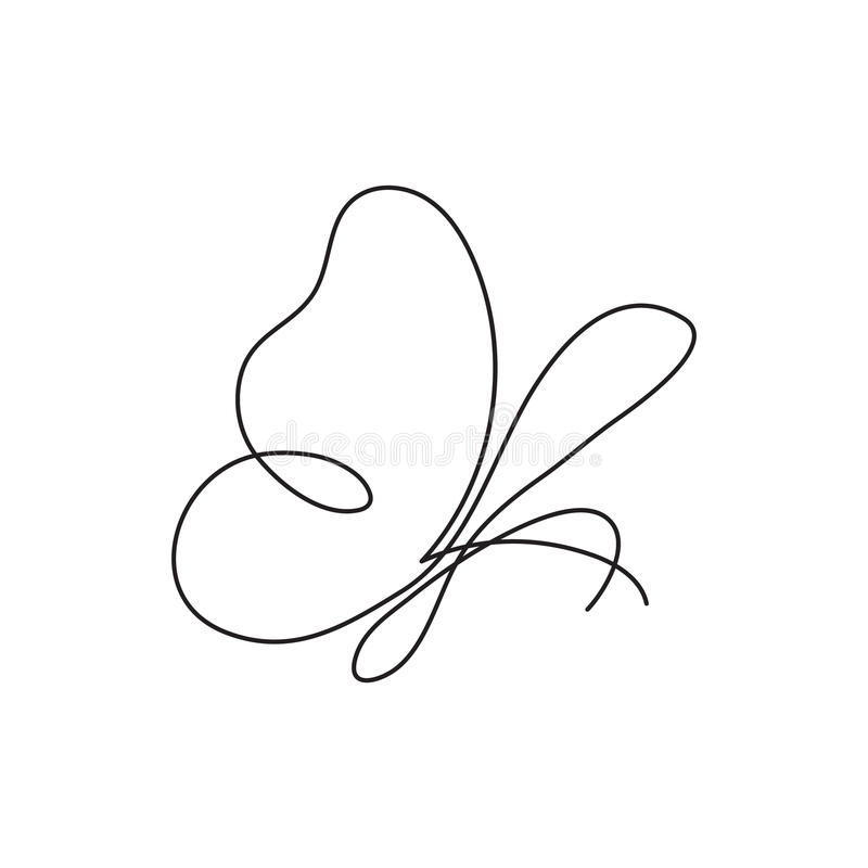 Modern continuous line butterfly. One line drawing of insect form for logo, card, banner, poster flyer. Continuous line butterfly. Abstract modern decoration royalty free illustration