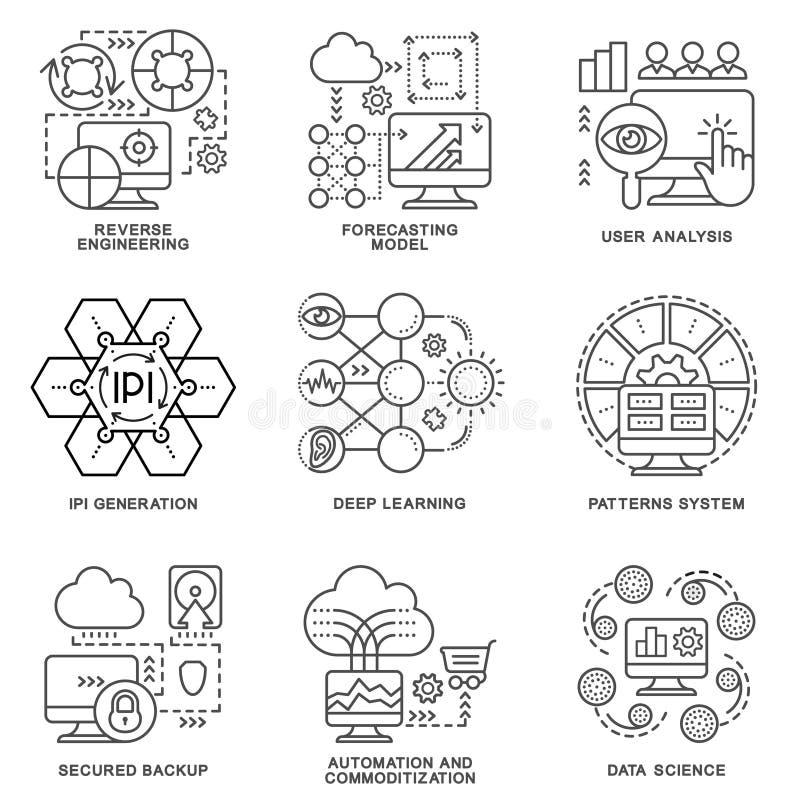 Modern contour icons database processing methods of data. royalty free stock photos
