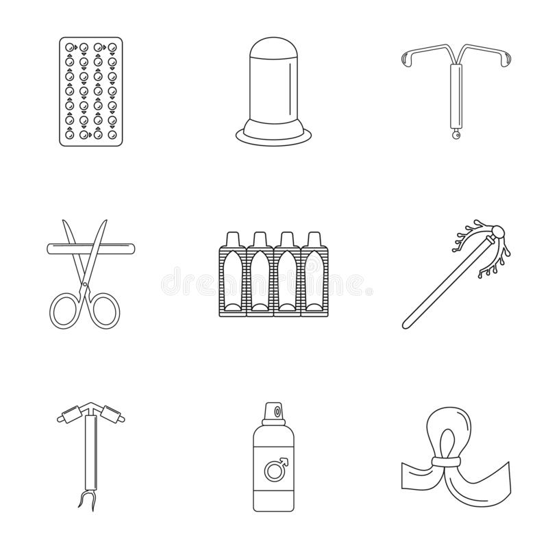Modern contraception icon set, outline style royalty free illustration