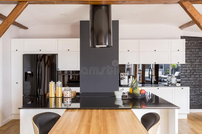 Modern contrast color kitchen stock photos
