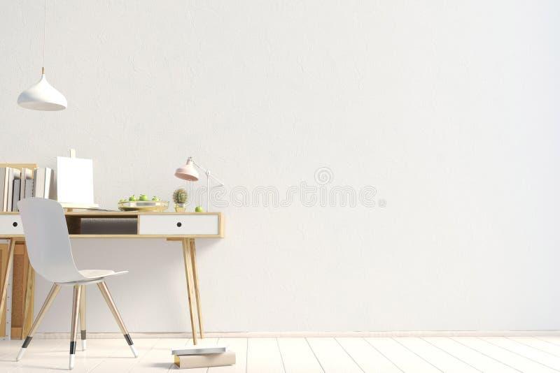 Modern contrastbinnenland in de stijlzolder, een plaats voor studie 3 vector illustratie