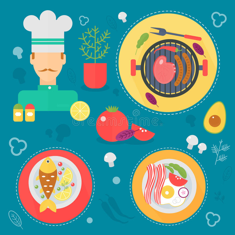 Modern cooking love flat concept. Kitchen tools, food dish and cooking infographics design, web elements, poster banners. Modern cooking love flat concept royalty free illustration