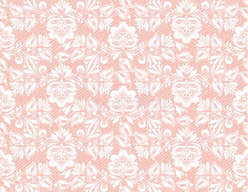 Modern coral lace seamless texture, great design for any purposes. Vector retro illustration. Grunge background. royalty free stock photography