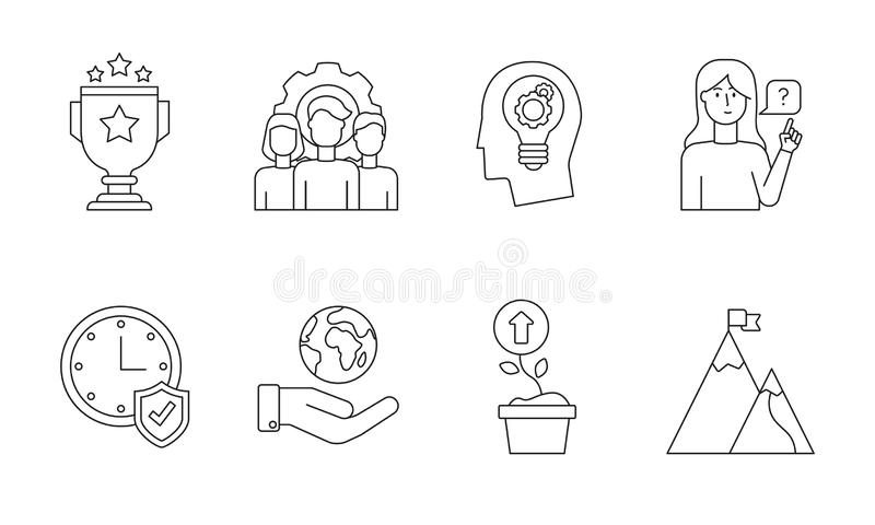 Modern Core values icon set for web vector illustration
