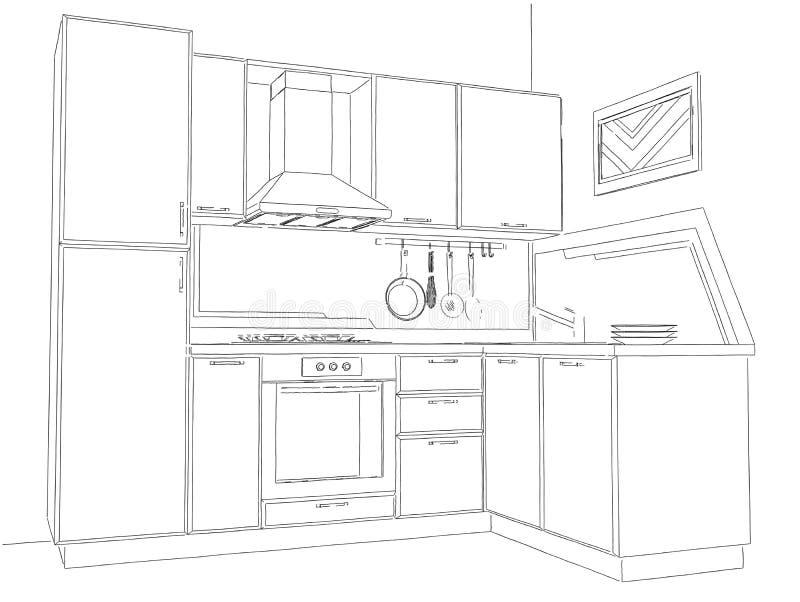 Modern corner kitchen interior pencil drawing stock illustration illustration of indoors Modern kitchen design dwg