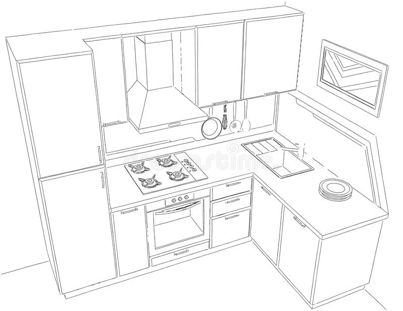 Download modern corner kitchen interior pencil drawing stock illustration illustration of cooking contour