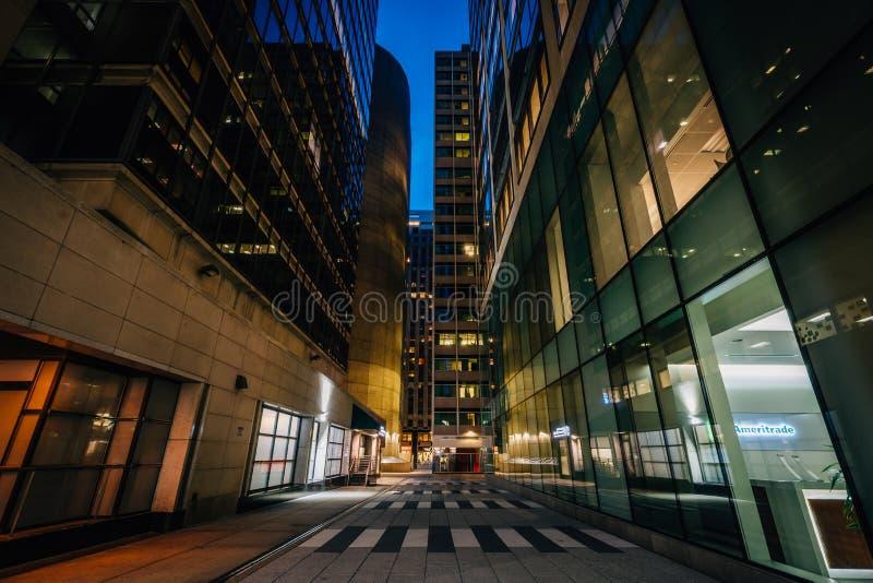Modern corridor at night, in Center City, Philadelphia, Pennsylvania.  stock photo