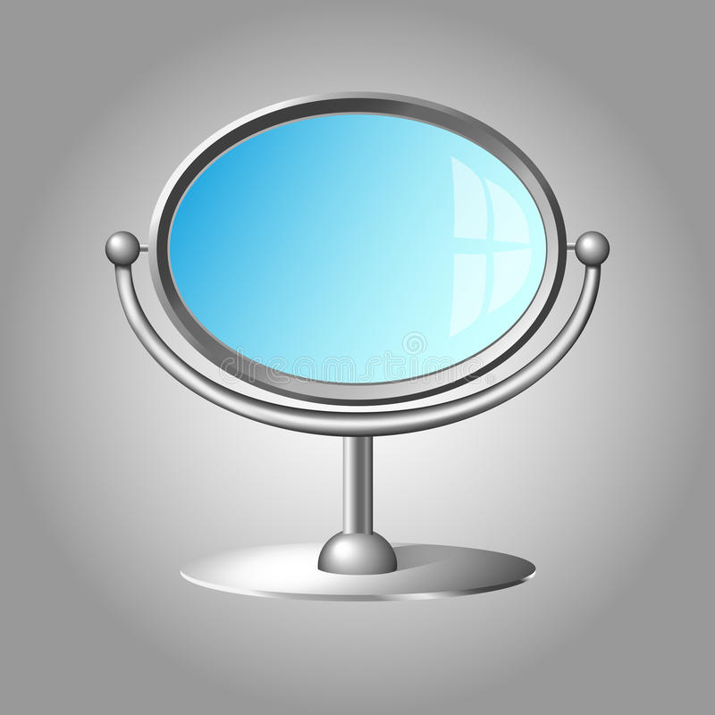 Modern cosmetic mirror with silver metal frame stock illustration