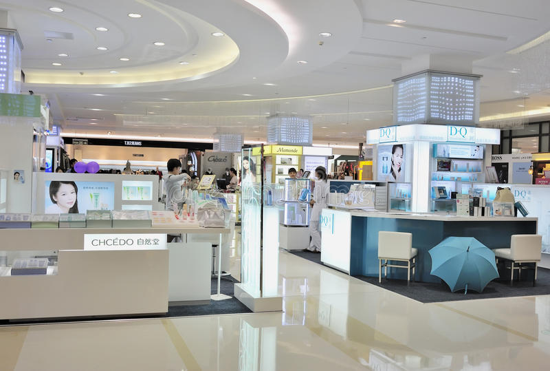 Modern cosmetics shop stock images