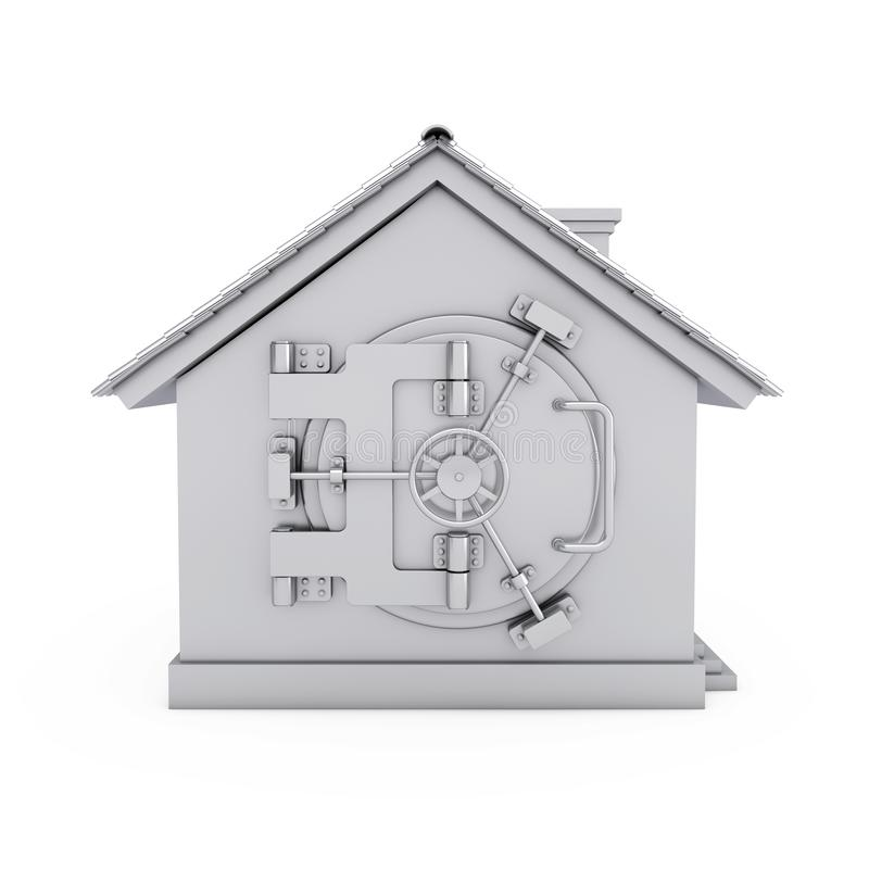 Modern Cottage House with Bank Safe Pad Door. 3d Rendering stock images