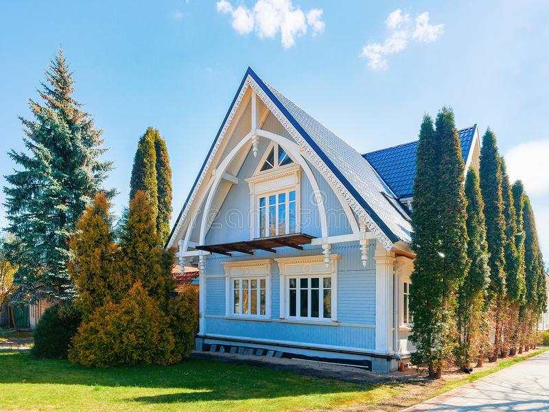 Modern cottage house with court yard Vilnius. Modern cottage house with small court yard, Vilnius royalty free stock image