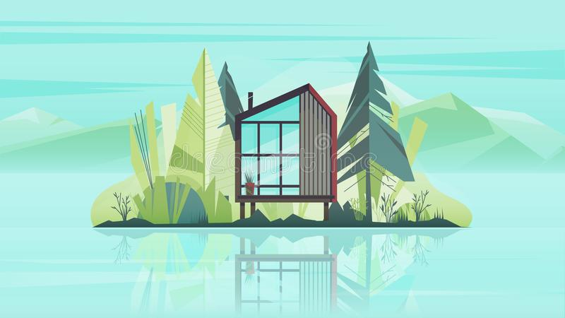 Modern Cottage House Exterior, Villa Building Horizontal Banner with trees, lake and the mountains. Vector illustration royalty free stock images