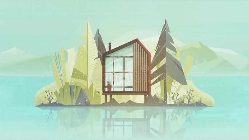 Modern Cottage House Exterior, Villa Building Horizontal Banner with trees, lake and the mountains. Vector illustration royalty free stock photo