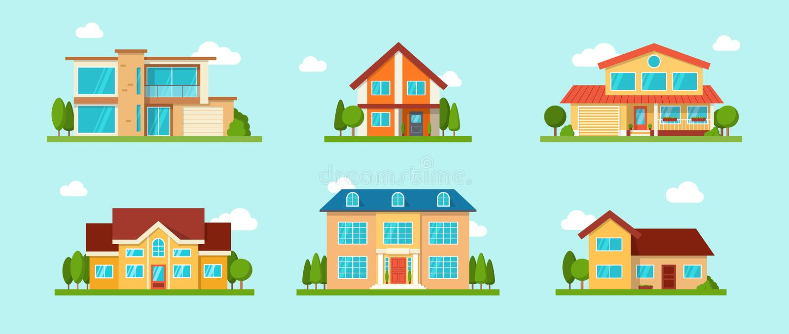 Modern cottage house set. Real Estate concept. Flat Style vector illustration