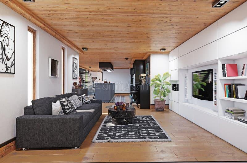 Modern cottage interior. vector illustration