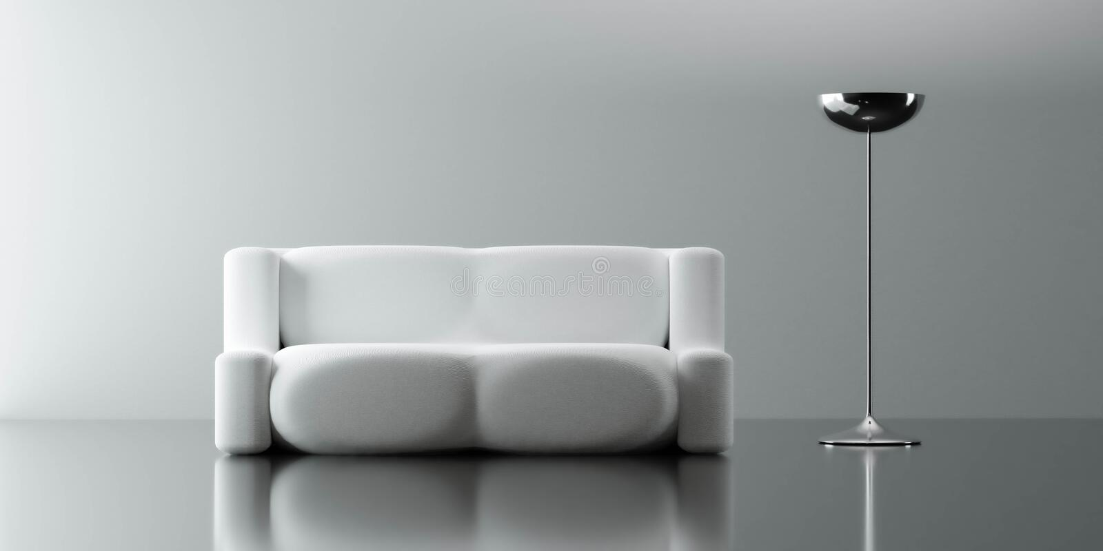 A Modern Couch With Futuristic Lamp Modern Design Living Room Interior With Dark Reflection Floor 3d Render Illustration Stock Illustration Illustration Of Comfortable Cozy 205288358