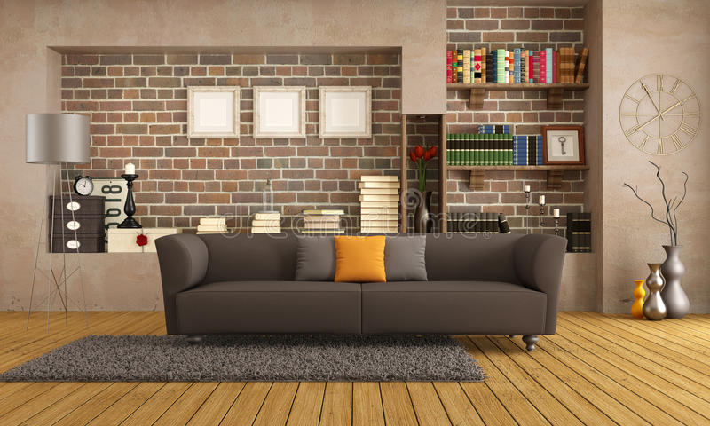Modern couch in a vintage living room royalty free illustration
