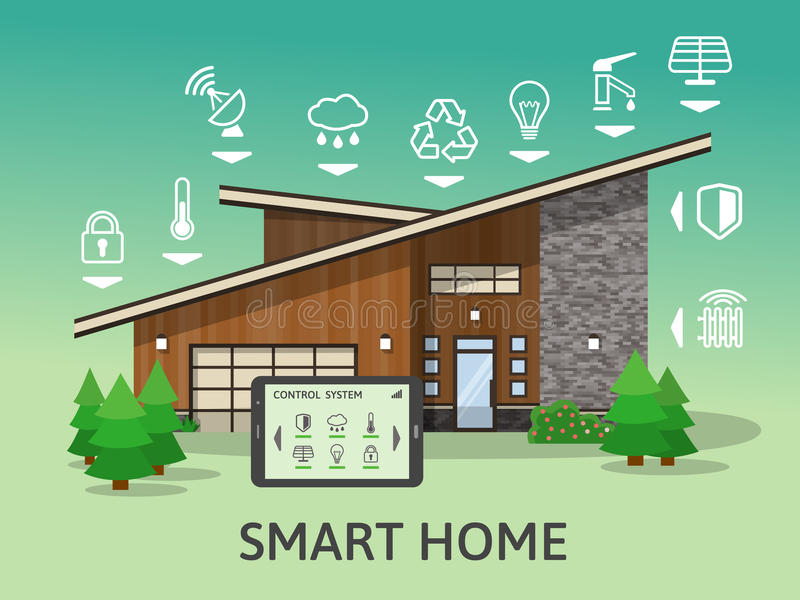Modern Country Big Smart Home. royalty free illustration