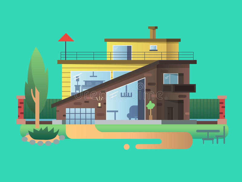 Modern country house stock illustration