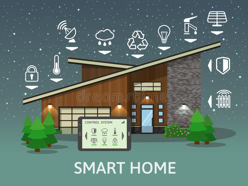 Modern Country Smart Home, at night. Flat design style concept stock illustration