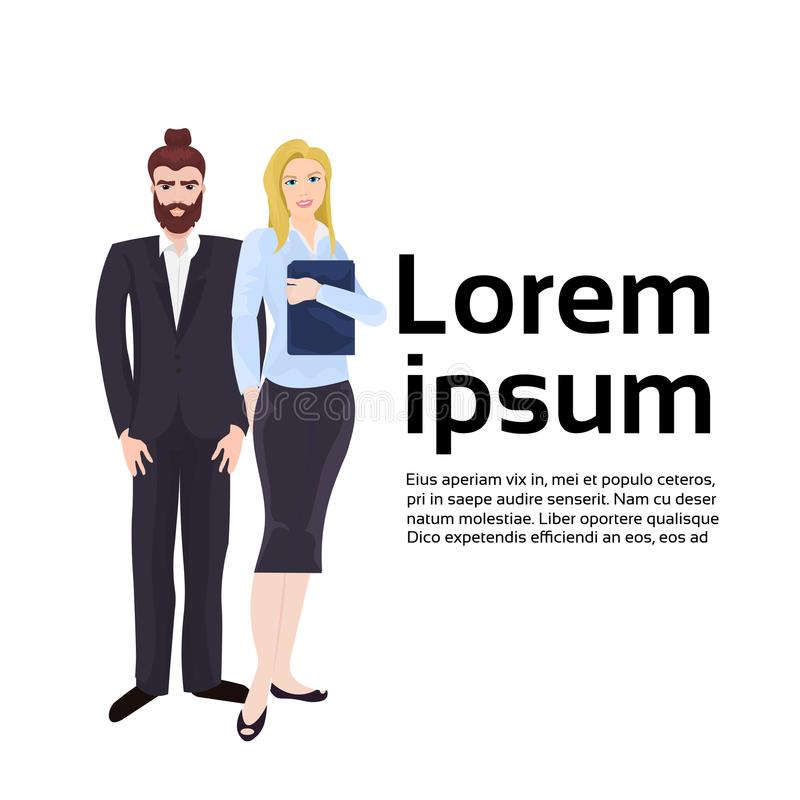 Modern Couple Of Businesspeople, Businessman And Businesswoman In Elegant Suits Over Background With Copy Space. Flat Vector Illustration stock illustration