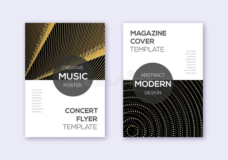 Modern cover design template set. Gold abstract li. Nes on black background. Excellent cover design. Posh catalog, poster, book template etc vector illustration