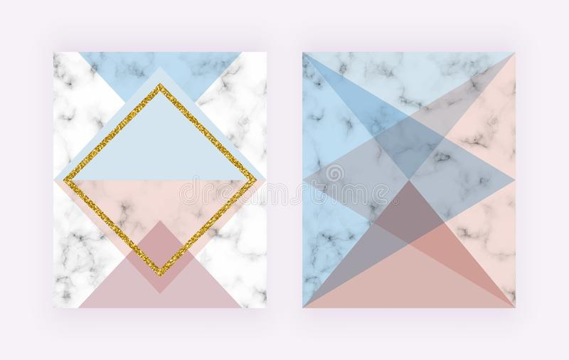 Modern cover with geometric design, golden lines, pink and blue triangular shapes. Fashion backgrounds for invitation, wedding, pl stock illustration
