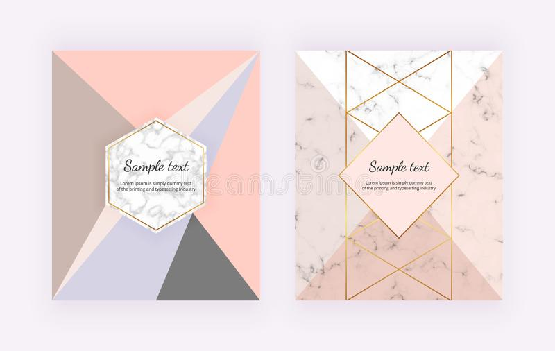 Modern cover with geometric design golden lines, pink and grey triangular shapes. Fashion backgrounds for invitation, wedding, pla stock illustration