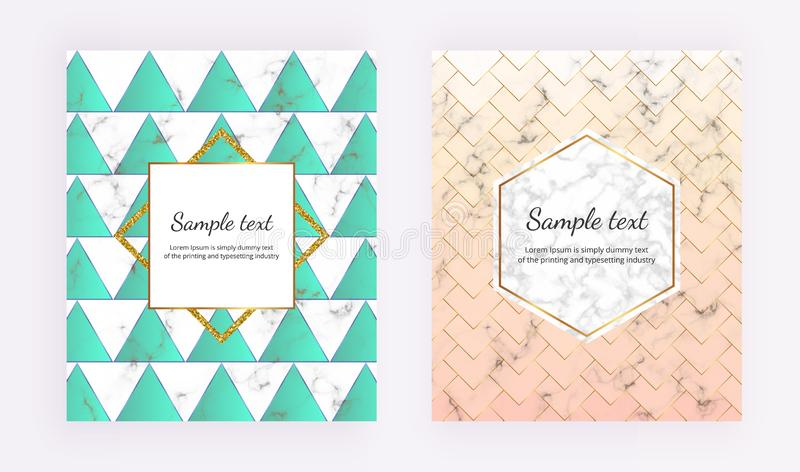 Modern cover geometric design with marble texture and gold glitter lines, green and pastel pink colors background. Template for de vector illustration