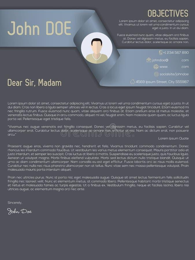 Modern cover letter cv resume with ribbon header royalty free illustration