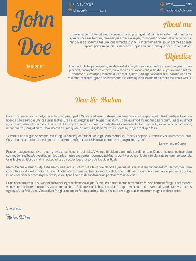 Modern cover letter resume cv with orange ribbon stock illustration
