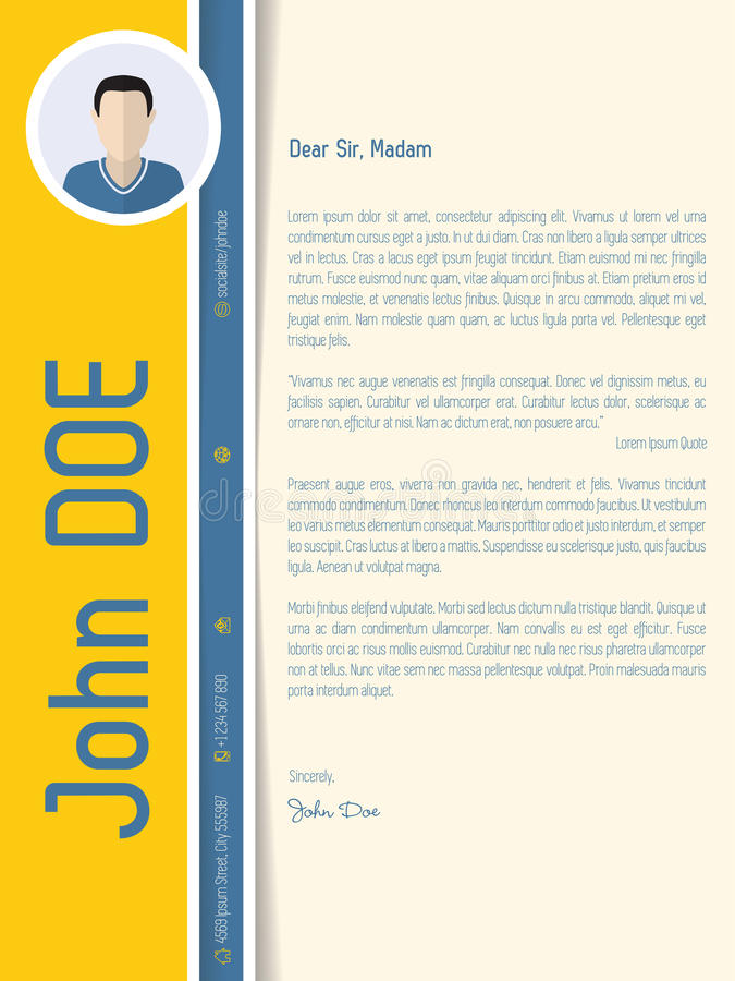 Modern cover letter resume with shadow design stock illustration