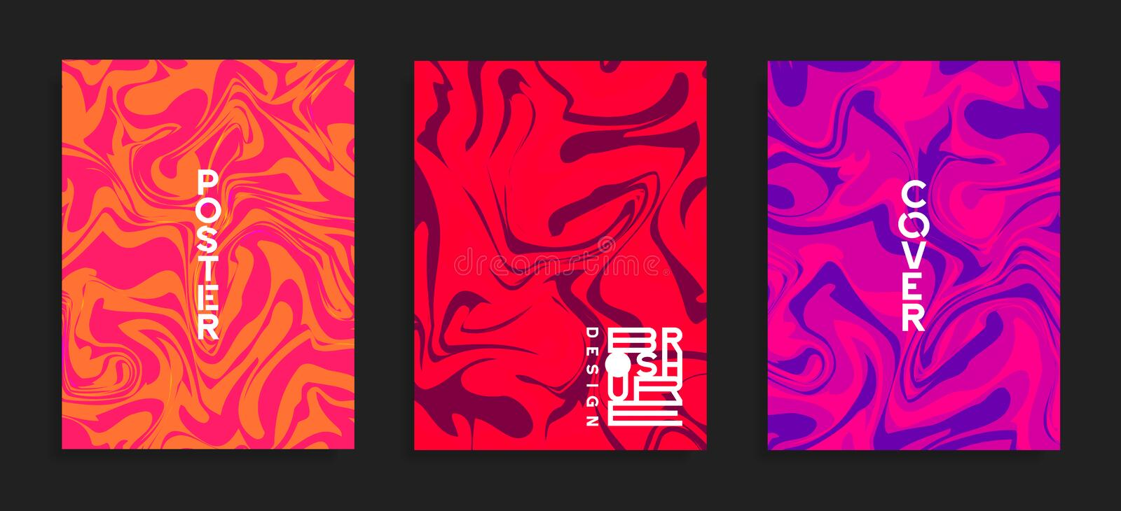 Modern cover templates. Fluid colors. Abstract marble effect vector background. Poster, brochure, flyer trendy design royalty free illustration