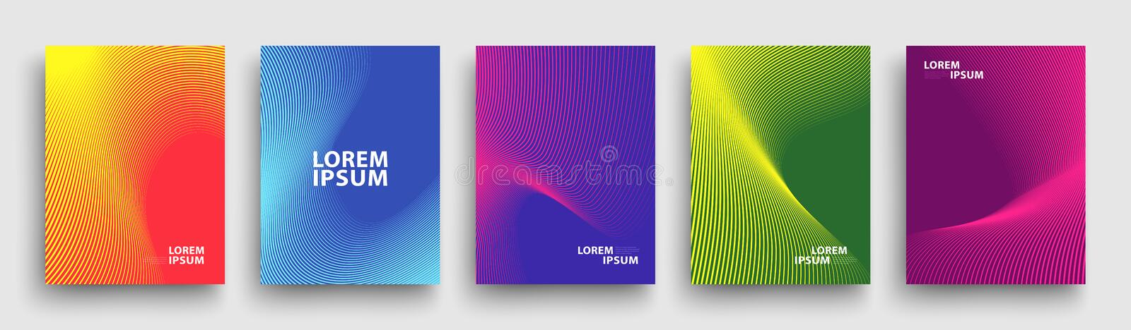 Modern Covers Template Design. Fluid colors. Set of Trendy Holographic Gradient shapes for Presentation, Magazines, Flyers. EPS 10 royalty free illustration