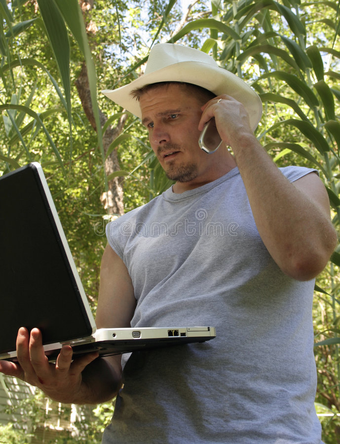 Computer in a Cornfield stock photography
