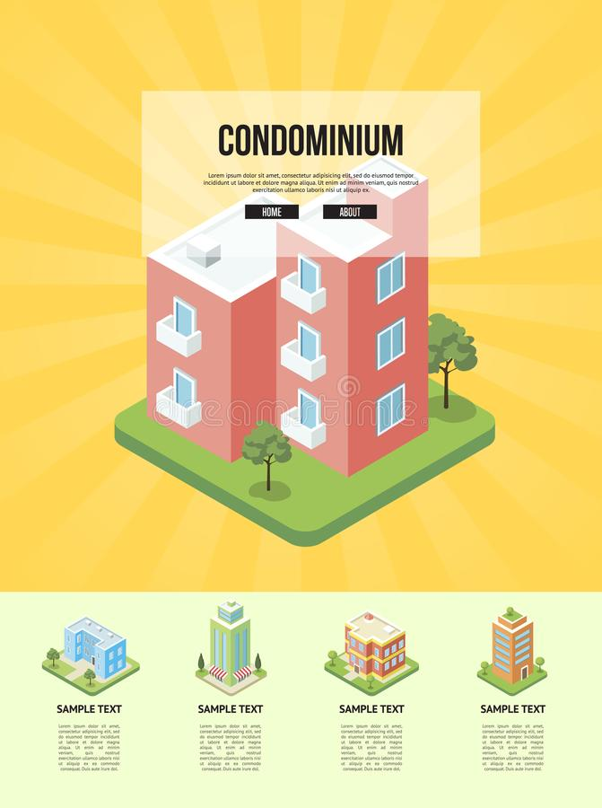 Modern cozy condominium building banner. Comfortable apartment in condo isometric vector illustration. City street with small residential houses, house vector illustration