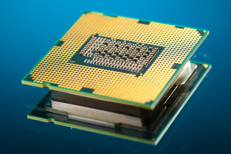 Modern cpu. On blue background stock photos