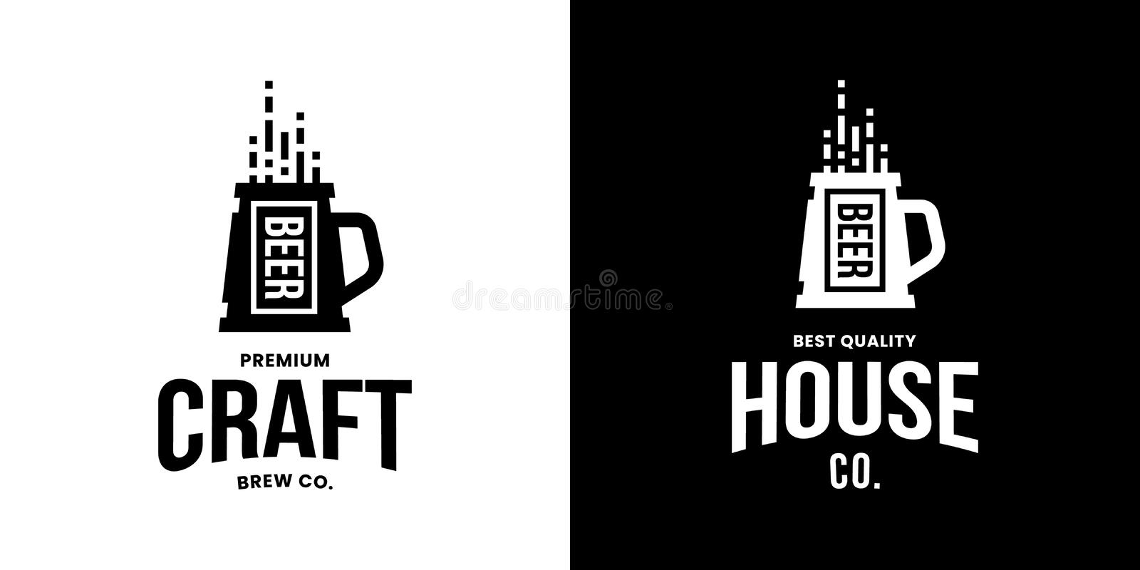 Modern craft beer drink isolated vector logo sign for bar, pub, store, brewhouse or brewery. vector illustration