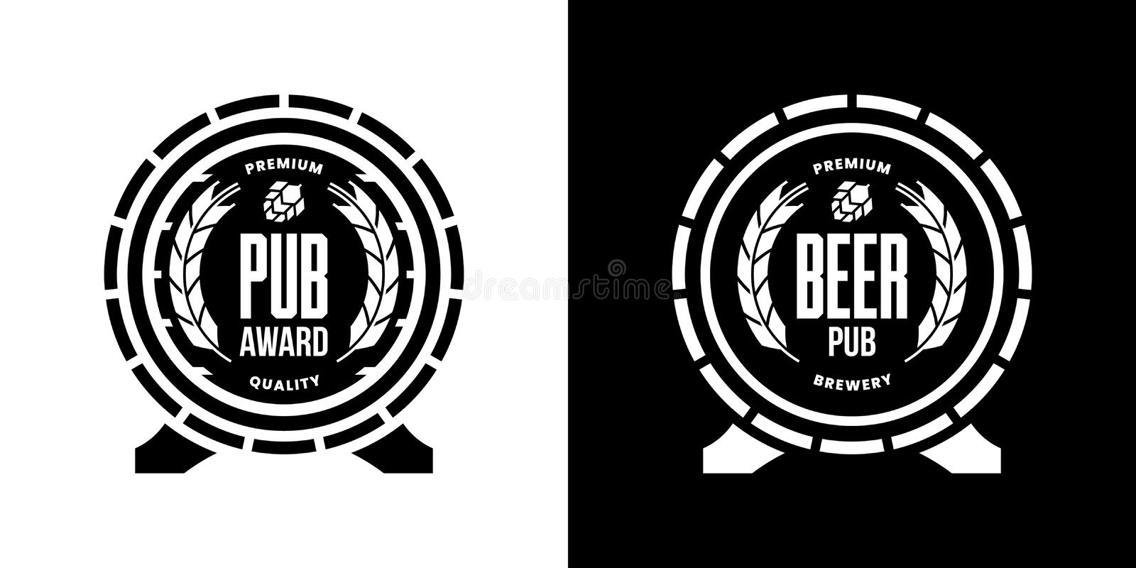 Modern craft beer drink isolated vector logo sign for bar, pub, store, brewhouse, brewery. Premium quality wooden barrel logotype illustration set. Brewing stock illustration