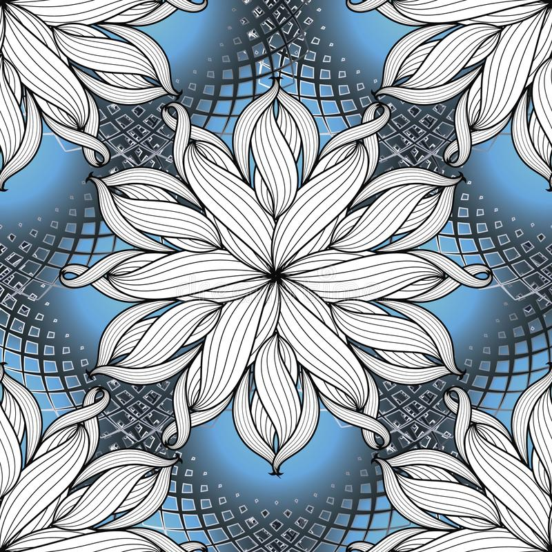 Modern creatief bloemen vector naadloos patroon Blauwe gestreepte geo stock illustratie