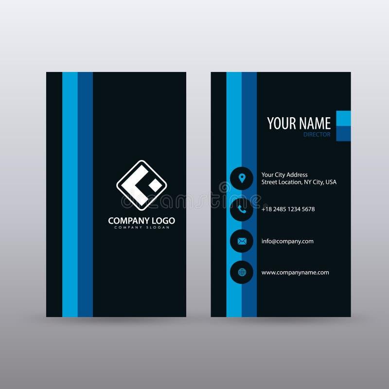 Modern Creatief verticaal Schoon Visitekaartjemalplaatje met blauwe Zwarte kleur Volledig editable royalty-vrije illustratie