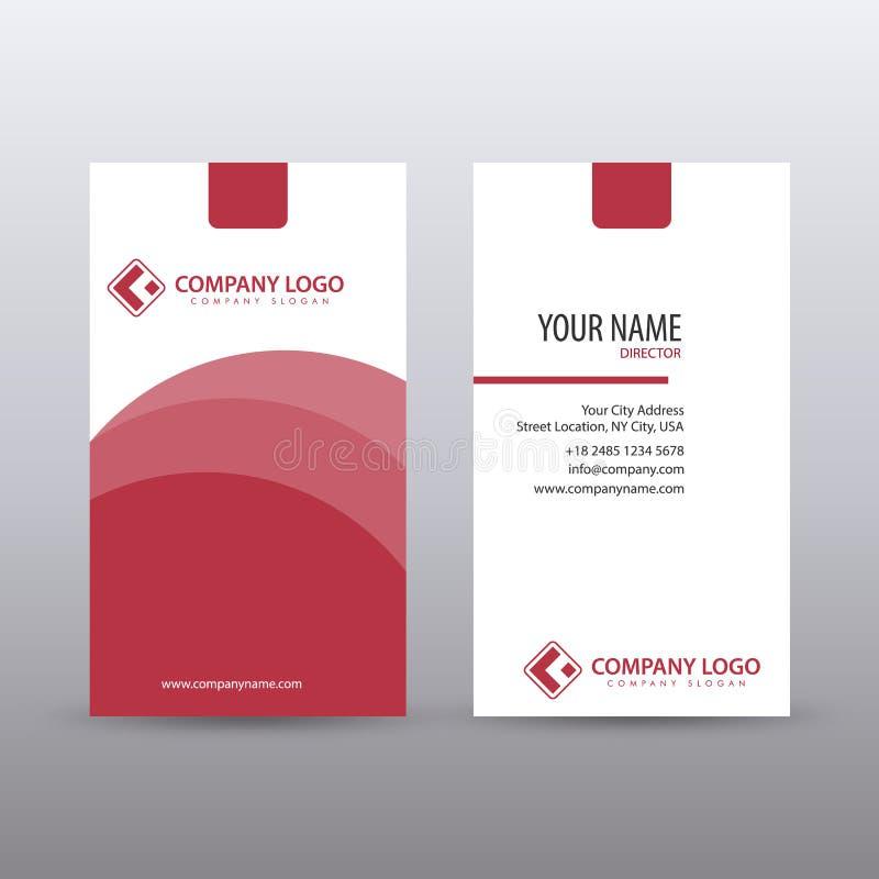 Modern Creatief verticaal Schoon Visitekaartjemalplaatje met Rode kleur Volledig editable stock illustratie