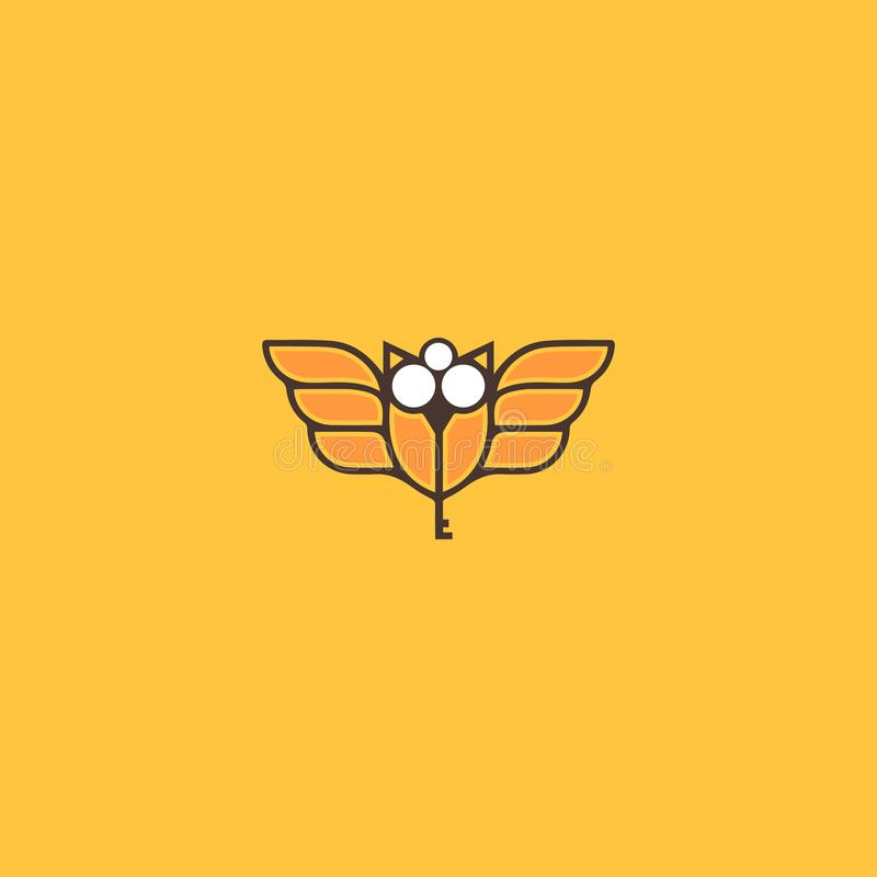 Modern and creative bee logo with key royalty free illustration