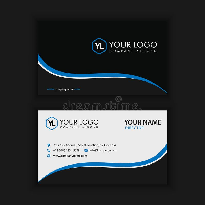 Modern Creative and Clean Business Card Template with blue dark. Color royalty free illustration